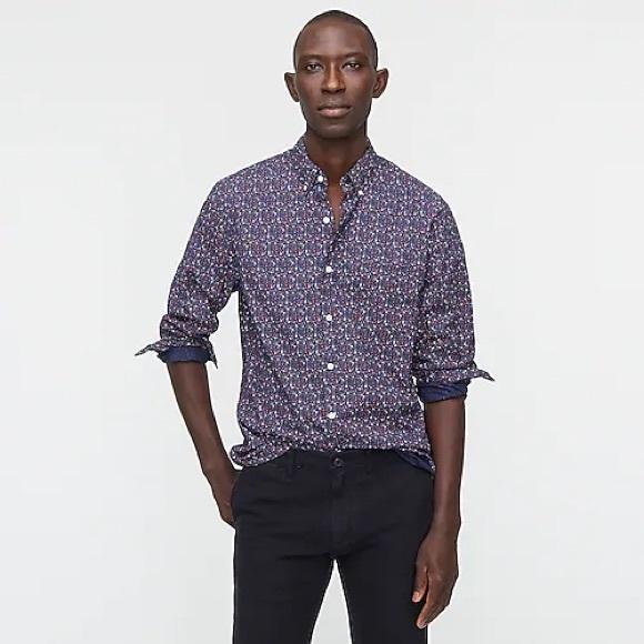 Slim Untucked Stretch Wash Cotton Poplin Shirt